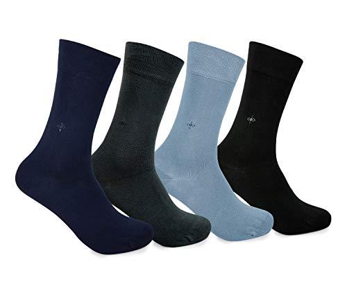 merVerd Bambus Socken Damen & Herren Anzugsocken Täglich Anti-Schweiss Geruchs-Killer Antibakteriell Nahtlos,grau-schwarz-navy blau-dunkelgrün Größe: 43-46, 4 Paar,