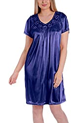 Royal Blue Silk Short Sleeve Fine Sequin Nightgown
