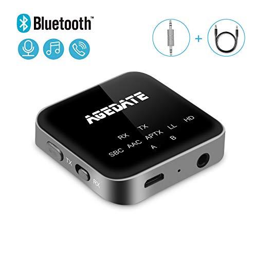 Bluetooth Transmitter Empfänger 2 in 1 Aux Bluetooth Adapter 5.0 Bluetooth Audio Adapter mit Freisprechanrufen, LED Anzeige, High Definiation, Low Latency für Auto TV Kopfhörer Lautsprecher