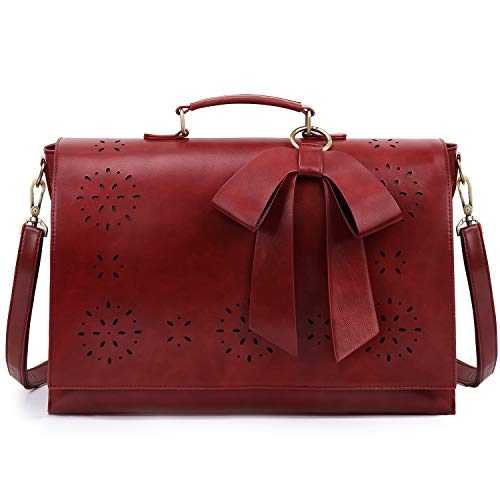 ECOSUSI Women Briefcase 15.6 inch Laptop Bag Ladies PU Leather Satchel Bag with Detachable Bow