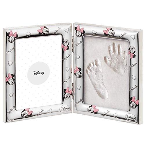 Disney Baby - Minnie Mouse - Cornice in Argento con Kit Impronte per Neonato e Bambino - Portafoto con impronta della manina e del piedino del tuo bebè – perfetta idea regalo per nascita, battesimo