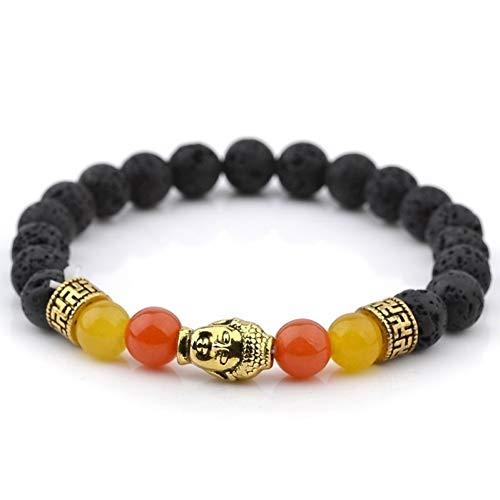 Natuursteen kralen Bangle Gold Buddha Plate armbanden Energy Healing Stone Yoga armband