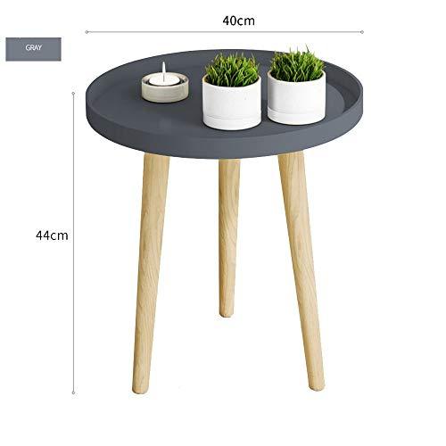 BinLZ-Table Kleiner Runder Tisch Couchtisch Nachttisch Ecktisch Sofa Beistelltisch Palettentisch Esstisch Optionale Farbe, Größe, Grau, 40 * 44 cm