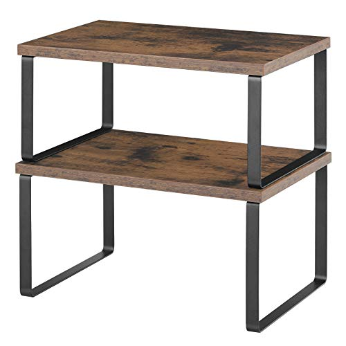 BTY Cabinet Shelf Organizers Set of 2 Counter Shelves Kitchen Counter Shelves with Metal Frame Stackable Expandable for Kitchen Cupboard Pantry Spice Storage (Brown)