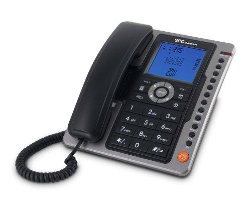 SPC Office Pro - Teléfono fijo ( identificación de llamadas, gran pantalla iluminada, manos libres, 7 memorias directas), negro