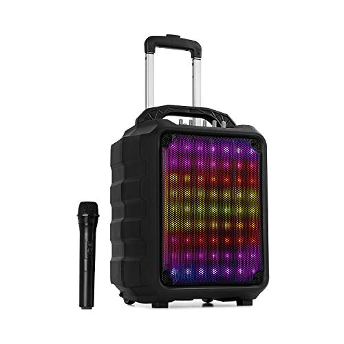 "auna Moving 80.1 LED mobile PA-Anlage - 100 Watt max, XMR-Bass-Technology, 8"" Woofer / 3\"" Tweeter, LED Lichteffekt, UHF-Mikrofon, Media-Player: USB/SD/Bluetooth/AUX, schwarz"