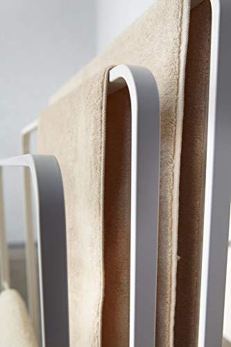 山崎実業(Yamazaki)横から掛けられるバスタオルハンガー3連ホワイト約W70XD14XH81cmタワー掛けやすい大判サイズも干せる4979