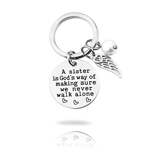 Sister Gift Keychain from Sister, A Sister is God's Way of Making Sure We Never Walk Alone Sister Jewelry Key Chain Sister Birthday Christmas Gifts for Sisters from Brother