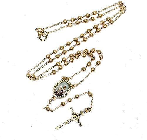 Yiffshunl Collar de Mujer, Collar de Cruz de Color Dorado, Colgantes para Mujer, Collar de Cadena de oración de Cobre, joyería de Rosario, Regalo