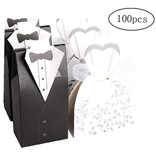 fedsjuihyg Cle De Tous Favor de la Boda del Chocolate Cajas Novia y el Novio Paquete de Diseño Blanco y Negro de 100 (50 Novias y Novios 50)
