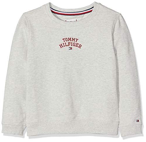Tommy Hilfiger Essential Logo Sweatshirt Sudadera, Gris (Light Grey Htr 023), 98 (Talla del Fabricante: 3) para Niñas