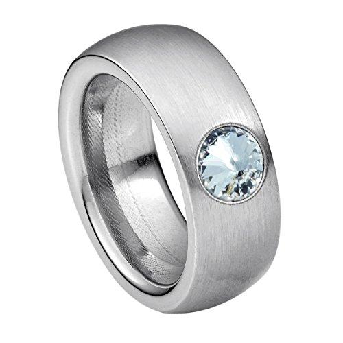 Heideman Ring Damen Coma 8 aus Edelstahl Silber farbend matt Damenring für Frauen mit Swarovski Stein Kristall Weiss im Fantasie Edelsteinschliff 6mm