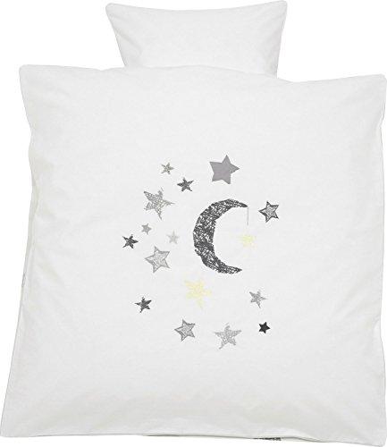 Alvi Bettwäsche mit Applikation Sterne Renforcé natur/grau Größe 80x80 cm (35x40 cm)
