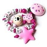 Schnullerkette mit Namen - Junge Mädchen - VIELE MODELLE - Häkelperle 3D Tiere Motivscheiben (022...