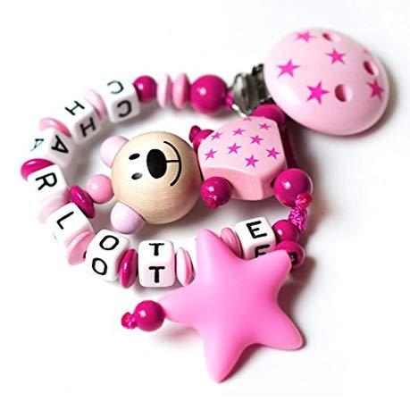 Schnullerkette mit Namen - Junge Mädchen - VIELE MODELLE - Häkelperle 3D Tiere Motivscheiben (022 rosa, pink)