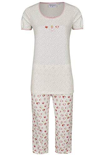 Ringella Lingerie Damen Pyjama mit Caprihose Off-White 46 0261221, Off-White, 46
