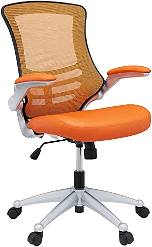 Hot Sale LexMod Attainment Office Chair with Orange Mesh Back and Leatherette Seat