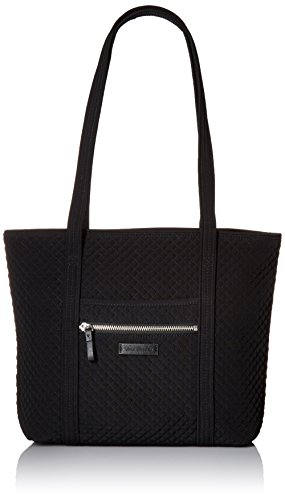 Vera Bradley Women's Microfiber Small Vera Tote Bag, Black