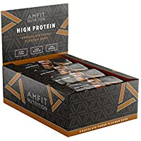 Marca Amazon- Amfit Nutrition Barrita de proteínas sabor a fondant de chocolate, pack de 12 (12x60g)