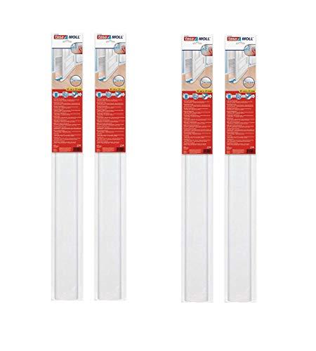 tesamoll Zugluftstopper für Glatte Böden in Grau / Zuschneidbare Türbodendichtung für Schutz vor Zug und Lärm / 95cm x 25cm (4 Stück Weiß)