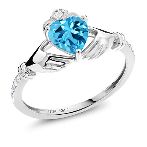 Gem Stone King 1.01 Ct Heart Shape Swiss Blue Topaz White Diamond 10K White Gold Irish Celtic Claddagh Ring (Size 8)