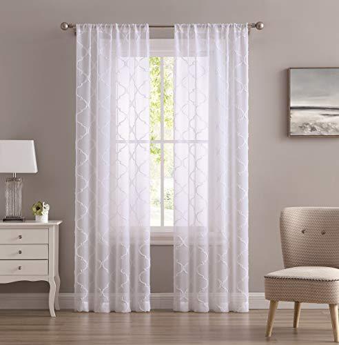 "Laura Ashley Berwyn Sheer Window Curtains, 38"" W x 96"" L, White, 2 Panels"