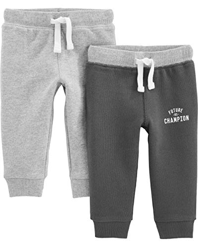 Simple Joys by Carter's Baby Boys' Toddler 2-Pack Athletic Knit Jogger Pants, Light Heather Gray, Dark Gray, 4T