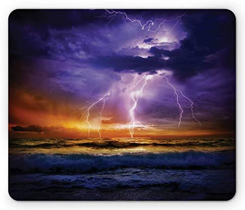 Nature Mouse Pad, Epic Thunder und der Sturm am Meereswellenhorizont Schlechte Wetteratmosphäre, Rechteck rutschfestes Gummi-Mousepad Purple Orange - 8,6 x 7 Inch