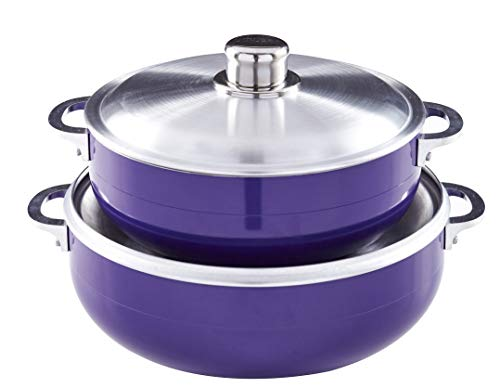 IMUSA USA 2 Piece Purple Caldero (Dutch Oven Set with Aluminum Lid (4.4Qt, 6.9Qt) Oven Safe