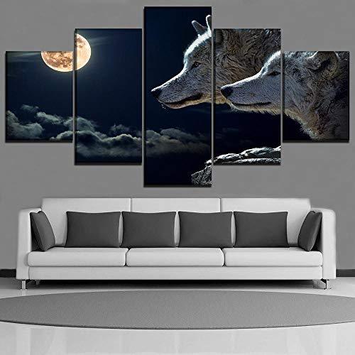 HHXXTTXS Leinwandbilder 5 teilig Tiere Wolf wandkunst malerei leinwandbilder 5 Panels Moderne Dekorative 5 Stücke Bild Kunstwerk Gemälde Auf Leinwand Wandkunst Hauptdekorationen Wanddekor