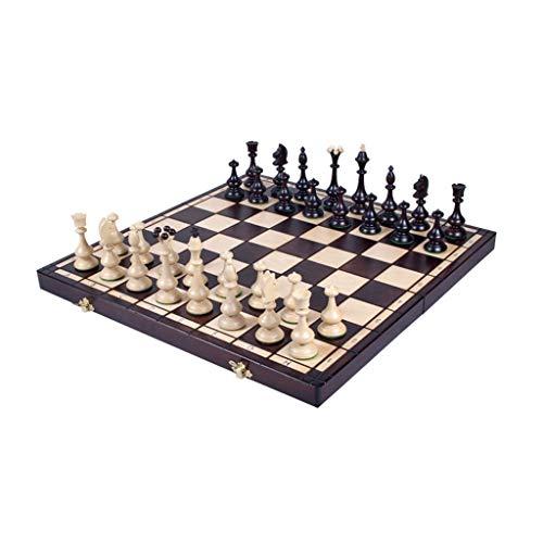 JJH Artesanía artística de ajedrez de Madera, Piezas de ajedrez de Madera, Tablero de ajedrez Plegable, Juego de Mesa estándar Universal para Todas Las Edades, 46 x 46 cm