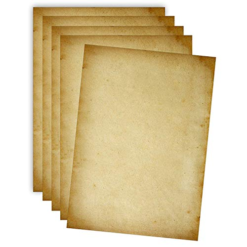 50 Blatt altes Papier-Set | hochwertiges 100g/m² A4 Vintage Briefpapier | für Einladungskarten zur Hochzeit, Konfirmation, Kommunion oder zum Geburtstag - Antike Deko, Urkundenpapier, Schatzkarte