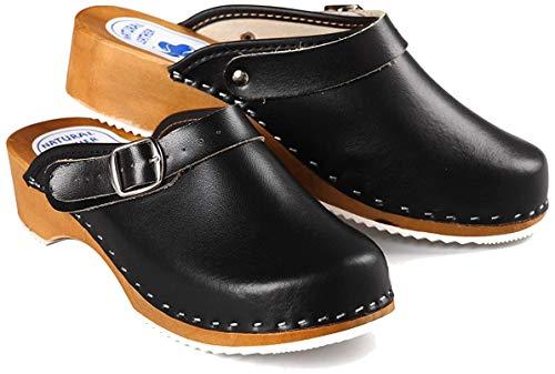 Aves-24 Clogs Pantolette Sandalette Holz + Leder Holzclogs Gr. 36-41 Holzschuhe (39, Schwarz)