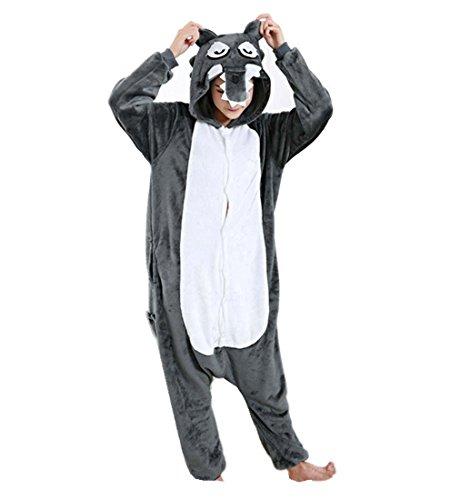 Pijamas Enteros Cosplay Adulto Ropa de Dormir Hombre Camisones Disfraces Carnaval Ropa Pijamas de Una Pieza Mujer Lobo Gris