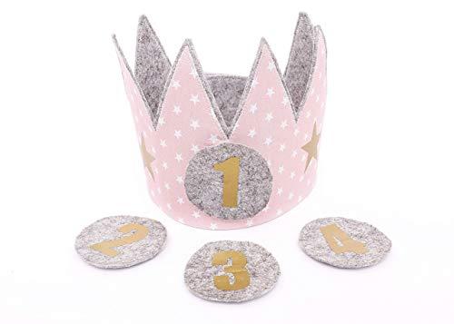 Corona cumpleaños Der Wollprinz, corona para bebes y niños de fieltro y tela en rosa con estrellas blancas con los números 1,2,3, 4