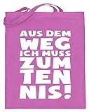 shirt-o-magic Tennis-Fan: Ich muss zum Tennis - Jutebeutel (mit langen Henkeln) -38cm-42cm-Pink
