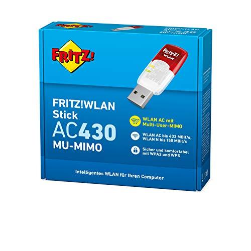 AVM FRITZ!WLAN Stick AC 430 MU-MIMO (bis zu 433 MBit/s, Dualband-WLAN für 2,4-GHz- oder 5-GHz-Verbindungen, Multi-User-MIMO, WPA2)
