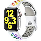 Vcegari Bands Compatible with Apple Watch 38mm 40mm, Sport Breathable Silicone Wristband for iWatch SE Women Men & iWatch Series 6 5 4 3 2 1, White/Rainbow S/M