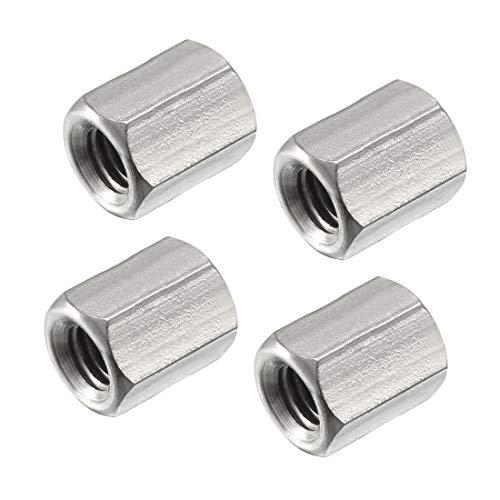 uxcell 六角カップリングナット M5 X 0.8-ピッチ 10mm長さ 304ステンレススチール メトリック 六角カップリングナット 4パック