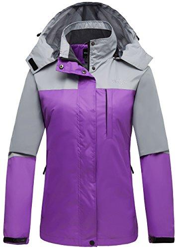 Wantdo Women's Foldable Rain Jacket Windproof Casual Wear Windcheater Grey L