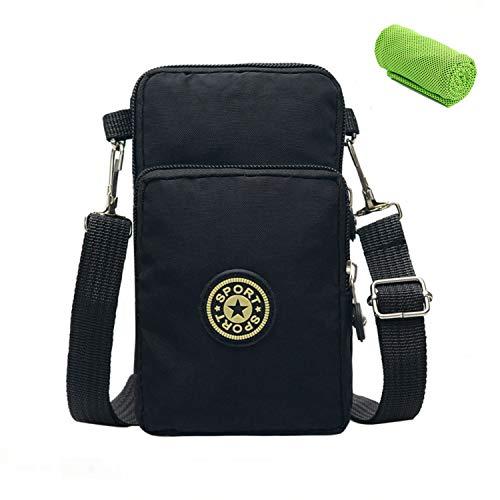 Phone Tasche Sport Armtasche Brieftasche Handy Umhängetasche Crossbody Schulter Mini Handytasche zum Umhängen Geldbörse Nylon kartentasche Schultertasche für Damen Frauen Mädchen Kinder iPhone Samsung