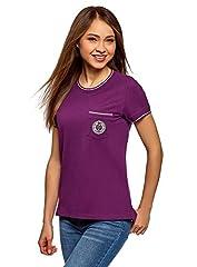 oodji Ultra Mujer Camiseta Recta con Decoración