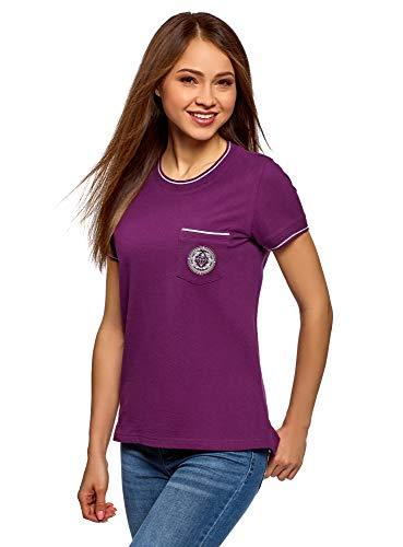 oodji Ultra Mujer Camiseta Recta con Decoración, Morado, ES 36 / XS