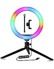 SANON ABS Selfie RGB LED-lampa med stativstativ mobiltelefonhållare BT-slutare dimbar LED-ljusuppsättning för livestöd