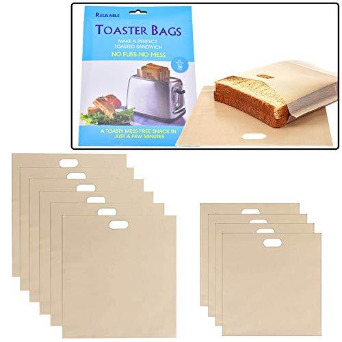 Set 12 Bolsas para Tostar Antiadherentes Tostadora Reutilizable para Parrilla Horno Microondas Toastabags Teflón Resistentes al Calor para Pan Sandwich Pizza Fácil Limpiar Adiós Sucio (12 piezas)