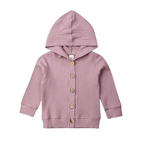 Loalirando Baby Mädchen Strickjacke Frühling Jacke Cardigan mit Knöpfen (3-6 Monate, Hoodie-Helllila)