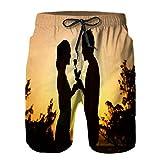 Hombres Verano Secado rápido Pantalones Cortos Playa Hombre Dando a Mujer una Rosa Trajes de baño Correr Surf Deportes-XL