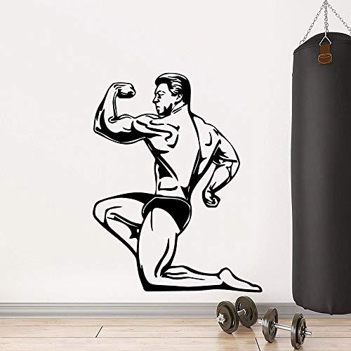 HNXDP Netter starker Mann GYM Vinyl Wandaufkleber Tapete Dekoratives Dekor Wohnzimmer Schlafzimmer Dekoration Aufkleber 57cmx73cm