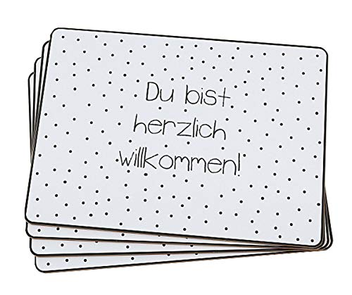 Boltze Platzset Tischset You Du bist herzlich willkommen weiß 4 Stück aus Kork ca 40 x 30 cm