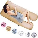Almohadas de Embarazo, Almohadas para Dormir de Lado, Almohadas de posicionamiento, Almohadas para bebés y para Lactancia en Forma de U, Funda Lavable 100% algodón (Classic XXL, 150 x 80 cm, Beige)